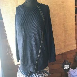 Noir Navy Side Zip Sweater